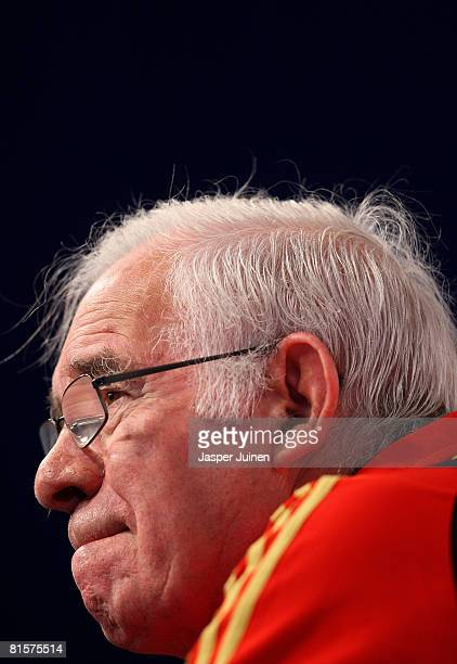 Coach Luis Aragones of Spain grimaces as he listens to questions from the media during his press conference after a light training session with his...