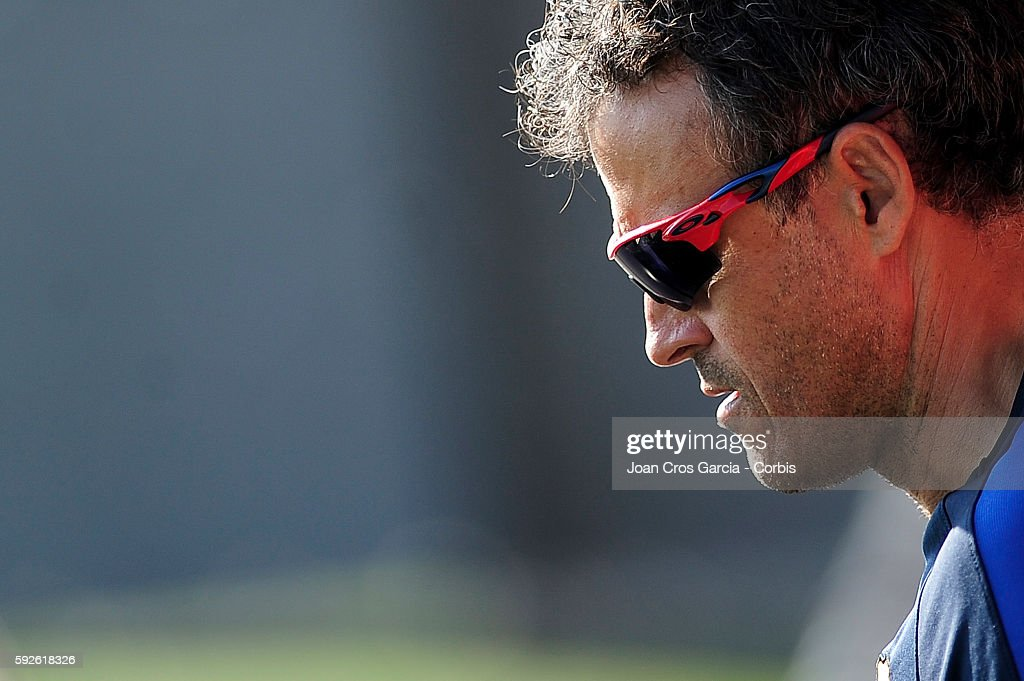 Coach Luis Enrique attends a training session at the Sports Center FC Barcelona Joan Gamper before the first Spanish League match between F.C.Barcelona and Betis on August 19, 2016 in Sant Joan Despí, Spain.