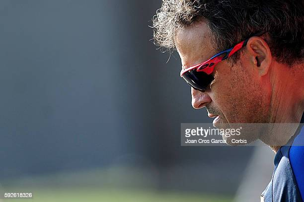 Coach Luis Enrique attends a training session at the Sports Center FC Barcelona Joan Gamper before the first Spanish League match between FCBarcelona...