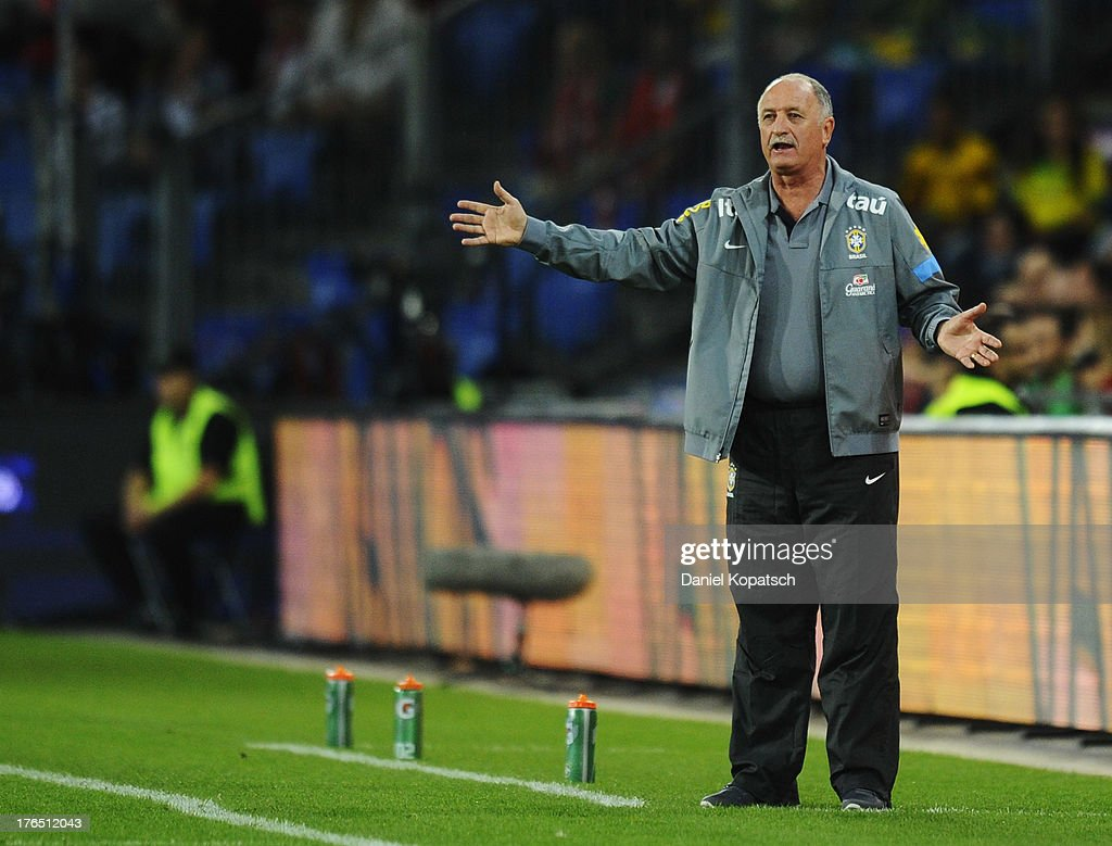 Coach Luiz Felipe Scolari of Brazil reacts during the international friendly match between Switzerland and Brazil at St. Jakob Stadium on August 14, 2013 in Basel, Switzerland.