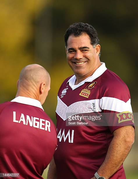 Coach Mal Meninga and Allan Langer of the Maroons looks on during a Queensland Maroons State of Origin training session at Xavier College on May 16...