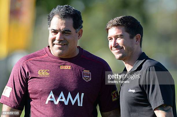 Coach Mal Meninga and former Socceroos player Harry Kewell pose for a photo during a Queensland Maroons State of Origin training session at Sanctuary...