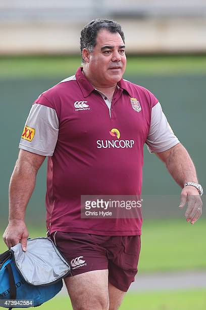 Coach Mal Meninga arrives at the Queensland Maroons State of Origin training session at Queensland Sport and Athletics Centre on May 19 2015 in...