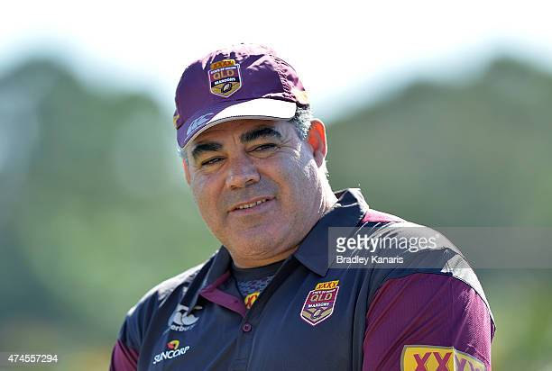 Coach Mal Meninga during the Queensland Maroons State of Origin training session at Sanctuary Cove on May 24 2015 in Brisbane Australia