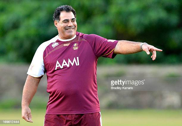 Coach Mal Meninga gives directions during a Queensland Maroons State of Origin training session at Palmer Resort Coolum on May 29 2013 in Brisbane...