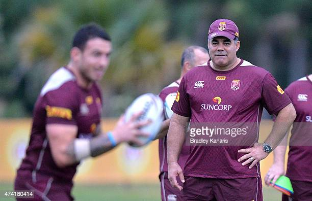 Coach Mal Meninga watches on during the Queensland Maroons State of Origin training session at Sanctuary Cove on May 21 2015 in Brisbane Australia