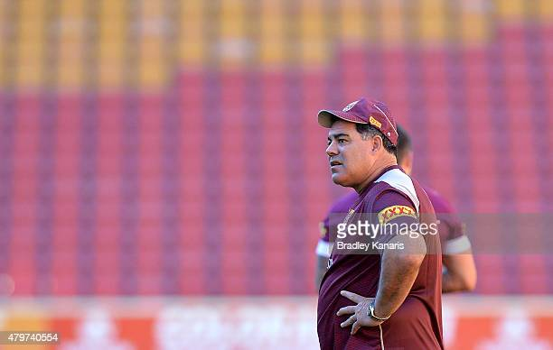 Coach Mal Meninga watches on during the Queensland Maroons State of Origin captain's run at Suncorp Stadium on July 7 2015 in Brisbane Australia