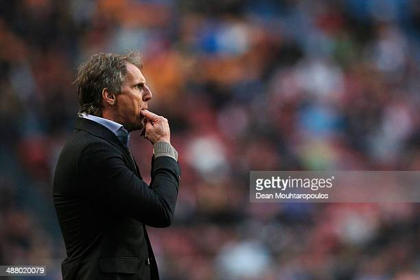 Coach / Manager Anton Janssen gives instructions to his team during the Eredivisie match between Ajax Amsterdam and NEC Nijmegen at Amsterdam Arena...