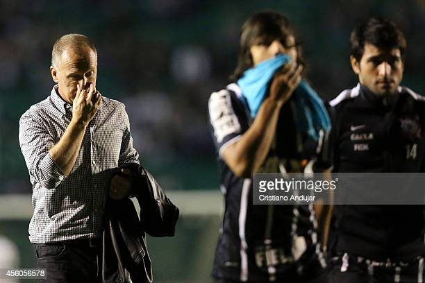 Coach Mano Menezes of Corinthians after first Half going to the Lockers room during a match between Figueirense and Corinthians as part of Campeonato...