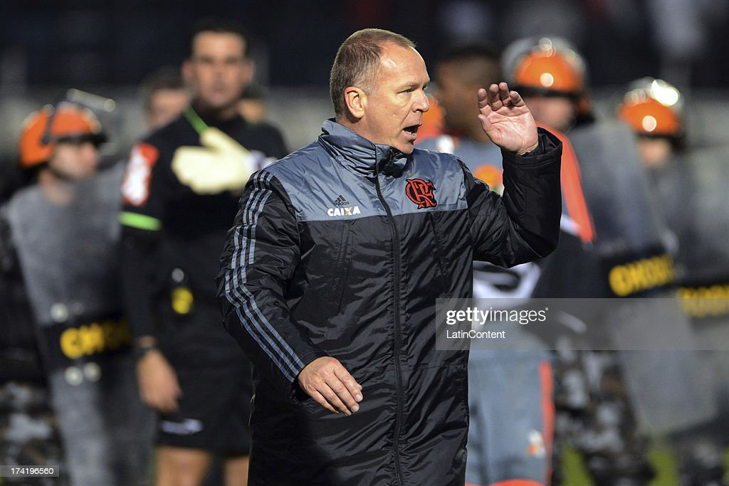Coach Mano Menezes of Flamengo during a match between Flamengo and Internacional as part of the Brazilian Serie A championship at Centenario stadium on July 21, 2013 in Porto Alegre, Caxias Do Sul, Brazil.