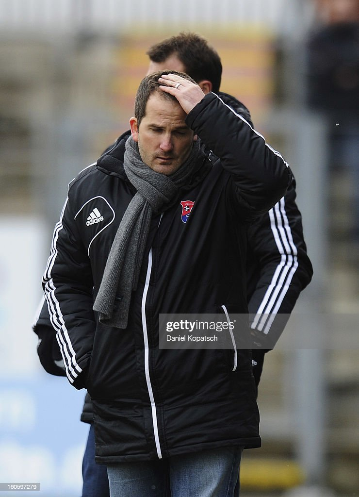 Coach Manuel Baum of Unterhaching reacts during the third Bundesliga match between SpVgg Unterhaching and Hallescher FC on February 3, 2013 in Unterhaching, Germany.