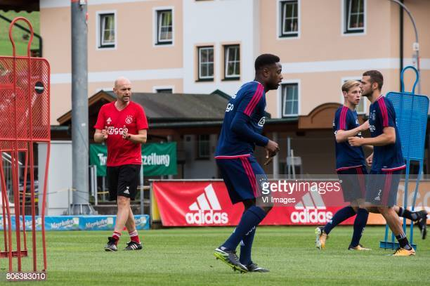 coach Marcel Keizer of Ajax Deyovaisio Zeefuik of Ajax Frenkie de Jong of Ajax Mauro Savastano of Ajaxduring the preseason summer training camp of...