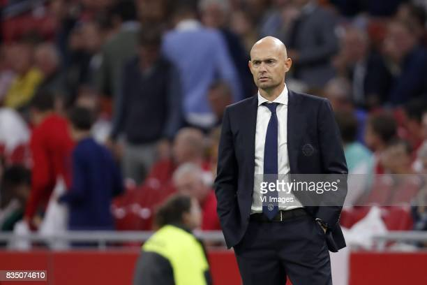 coach Marcel Keizer of Ajax during the UEFA Europa League fourth round qualifying first leg match between Ajax Amsterdam and RosenBorg BK at the...