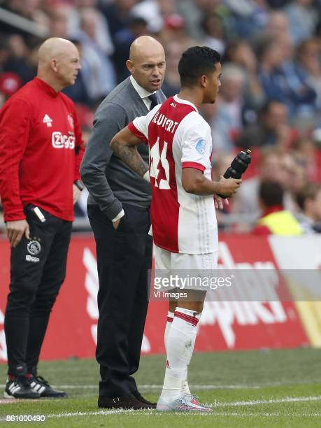 coach Marcel Keizer of Ajax Justin Kluivert of Ajax during the Dutch Eredivisie match between Ajax Amsterdam and Vitesse Arnhem at the Amsterdam...