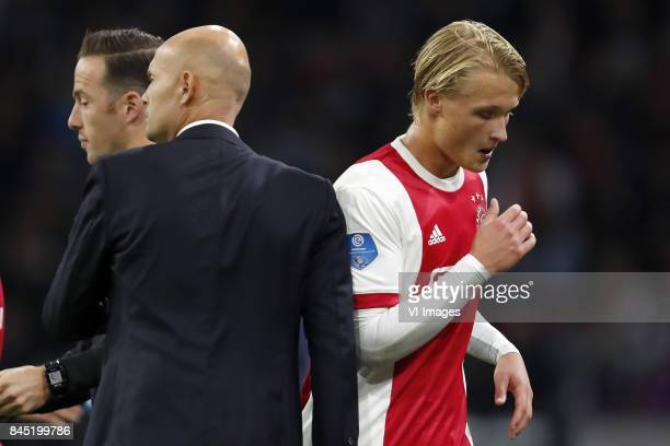 coach Marcel Keizer of Ajax Kasper Dolberg of Ajax during the Dutch Eredivisie match between Ajax Amsterdam and PEC Zwolle at the Amsterdam Arena on...
