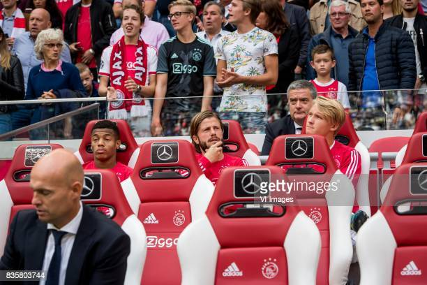 coach Marcel Keizer of AjaxDavid Neres of Ajax Lasse Schone of Ajax Kasper Dolberg of Ajax during the Dutch Eredivisie match between Ajax Amsterdam...