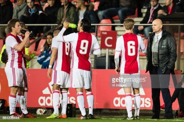 coach Marcel Keizer of Jong Ajax give instructions to Frenkie de Jong of Jong Ajaxduring the Jupiler League match between jong Ajax and Jong FC...