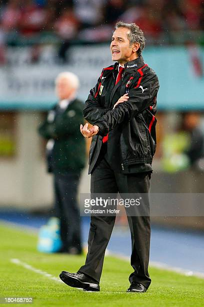 Coach Marcel Koller of Austria reacts during the FIFA World Cup 2014 Group C qualification match between Austria and the Republic of Ireland at the...