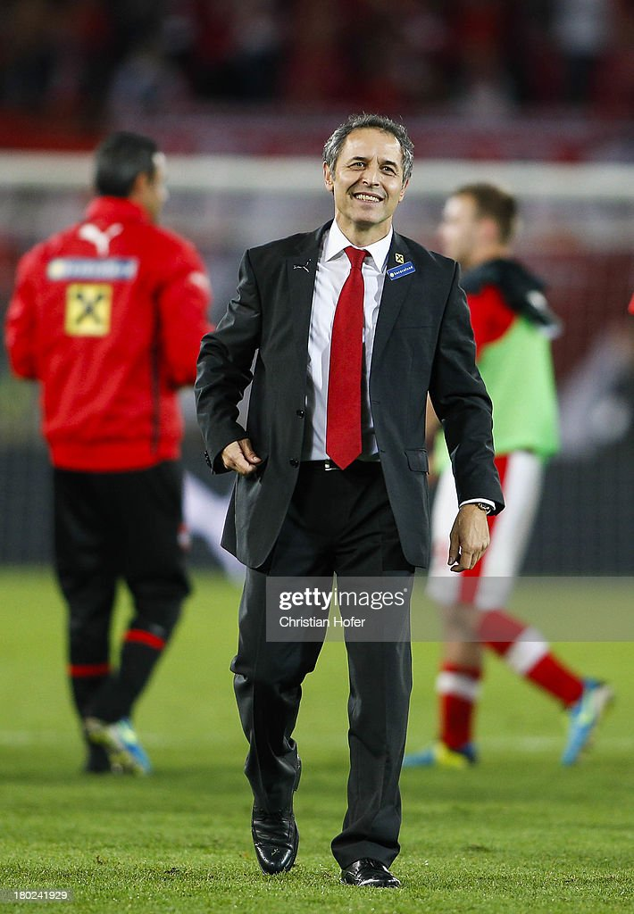 Coach Marcel Koller of Austria smiles after winning the FIFA World Cup 2014 Group C qualification match between Austria and the Republic of Ireland at the Ernst Happel Stadium on September 10, 2013 in Vienna, Austria.