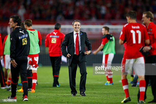 Coach Marcel Koller of Austria smiles after winning the FIFA World Cup 2014 Group C qualification match between Austria and the Republic of Ireland...