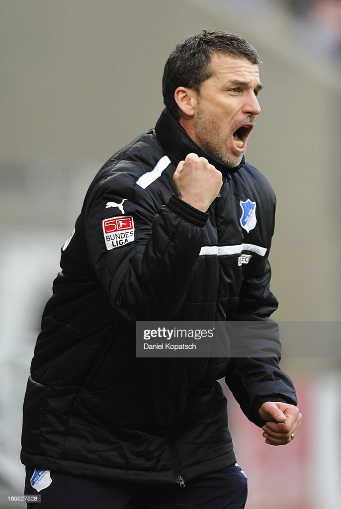 Coach <a gi-track='captionPersonalityLinkClicked' href=/galleries/search?phrase=Marco+Kurz&family=editorial&specificpeople=2383064 ng-click='$event.stopPropagation()'>Marco Kurz</a> of Hoffenheim reacts during the Bundesliga match between TSG 1899 Hoffenheim and SC Freiburg at Rhein-Neckar-Arena on February 2, 2013 in Sinsheim, Germany.