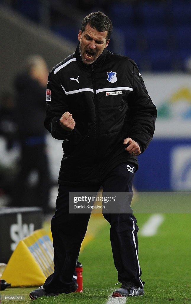 Coach Marco Kurz of Hoffenheim reacts during the Bundesliga match between TSG 1899 Hoffenheim and Sc Freiburg at RheinNeckarArena on February 2 2013...