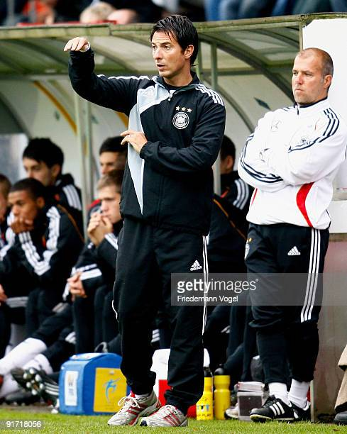 Coach Marco Pezzaiuoli of Germany gives instructions during the U18 International Friendly match between Germany and Algeria at the Vivaris stadium...