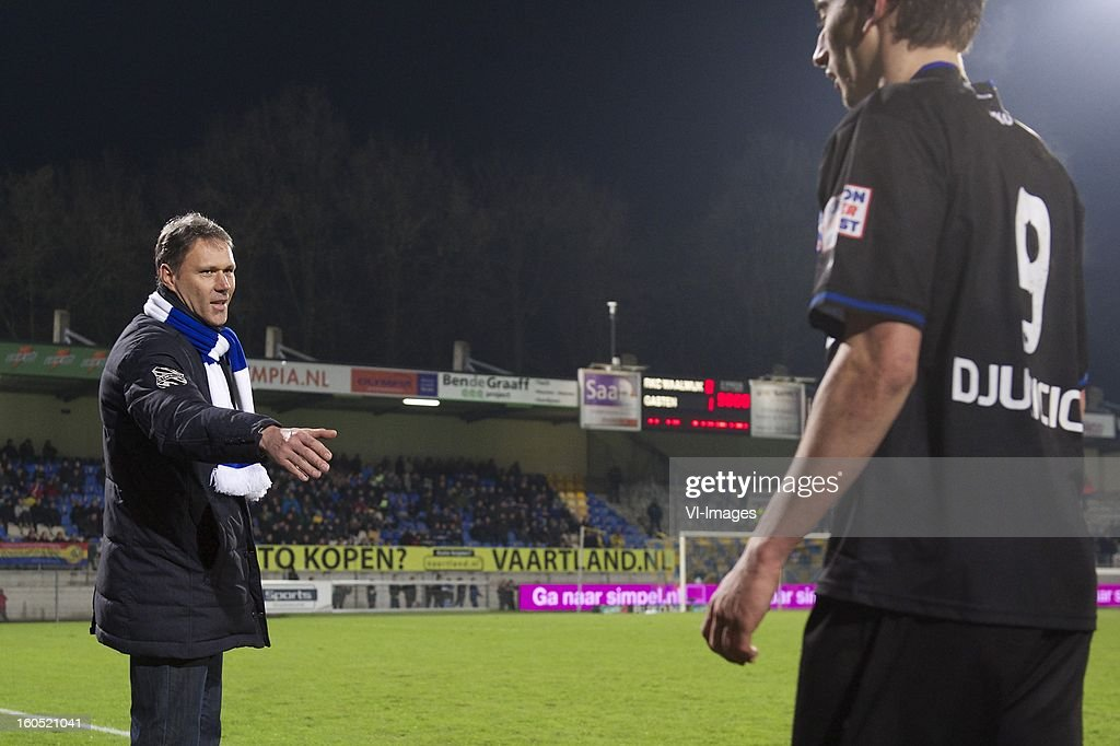 coach Marco van Basten of Heerenveen, Filip Djuricic of Heerenveen during the Dutch Eredivisie match between RKC Waalwijk and SC Heerenveen at the Mandemakers Stadium on february 1, 2013 in Waalwijk, The Netherlands