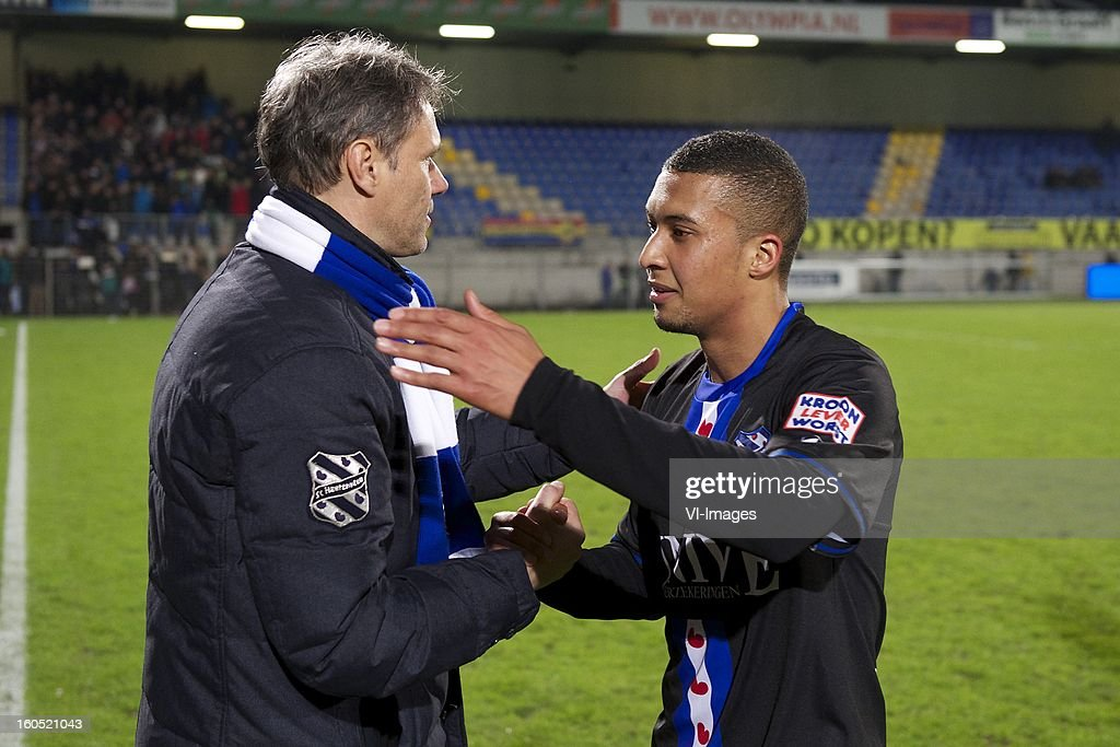 coach Marco van Basten of Heerenveen, Gianni Zuiverloon of Heerenveen during the Dutch Eredivisie match between RKC Waalwijk and SC Heerenveen at the Mandemakers Stadium on february 1, 2013 in Waalwijk, The Netherlands