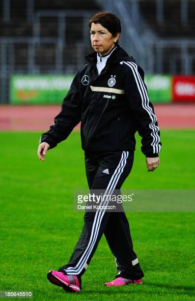 Coach Maren Meinert of Germany looks on prior the women's U19 international friendly match between Germany and Sweden on October 23 2013 in Ulm...