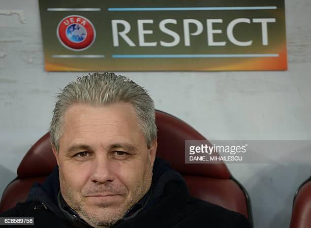 Coach Marius Sumudica of Astra Giurgiu looks on prior the UEFA Europa League Group E football match between FC Astra Giurgiu and AS Roma in Bucharest...