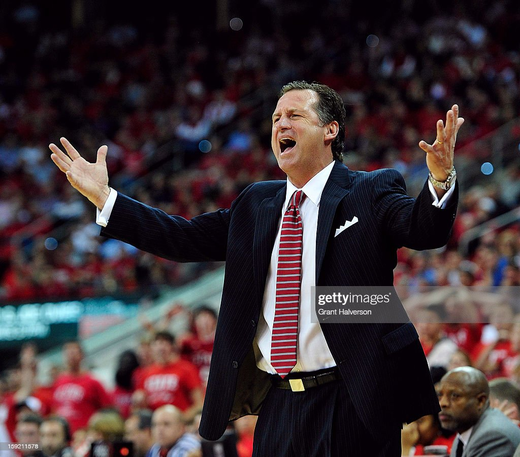 Coach Mark Gottfried of the North Carolina State Wolfpack argues for a foul to be called against the Georgia Tech Yellow Jackets during play at PNC Arena on January 9, 2013 in Raleigh, North Carolina.