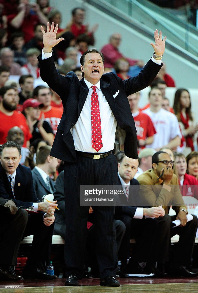 Coach Mark Gottfried of the North Carolina State Wolfpack directs his team against the Boston College Eagles during play at PNC Arena on February 27, 2013 in Raleigh, North Carolina. North Carolina State won 82-64.