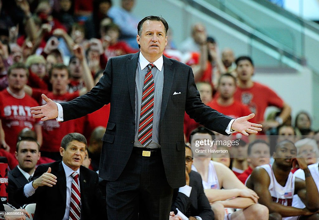 Coach Mark Gottfried of the North Carolina State Wolfpack reacts during a last-second loss to the Miami Hurricanes at PNC Arena on February 2, 2013 in Raleigh, North Carolina.