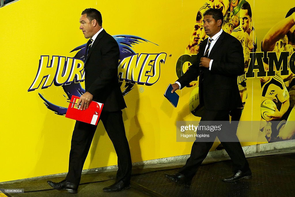 Coach Mark Hammett (L) of the Hurricanes and assistant coach Alama Ieremia walk out of the players tunnel during the round eight Super Rugby match between the Hurricanes and the Waratahs at Westpac Stadium on April 6, 2013 in Wellington, New Zealand.