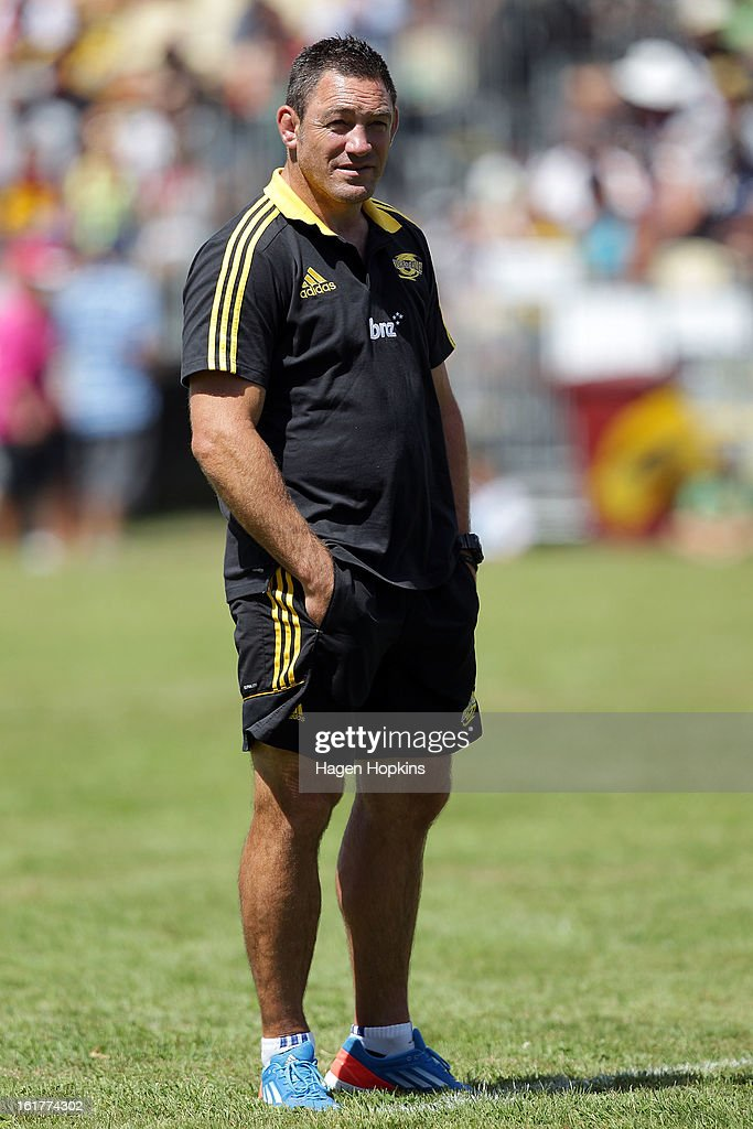 Coach Mark Hammett of the Hurricanes looks on during the Super Rugby trial match between the Hurricanes and the Chiefs at Mangatainoka RFC on February 16, 2013 in Mangatainoka, New Zealand.