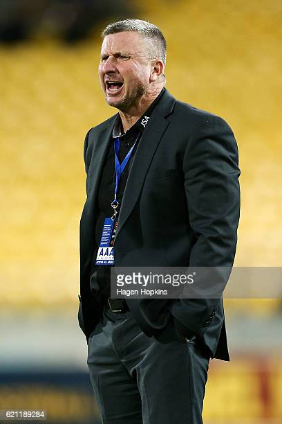 Coach Mark Jones of the Jets speaks to his team from the sideline during the round five ALeague match between the Wellington Phoenix and the...