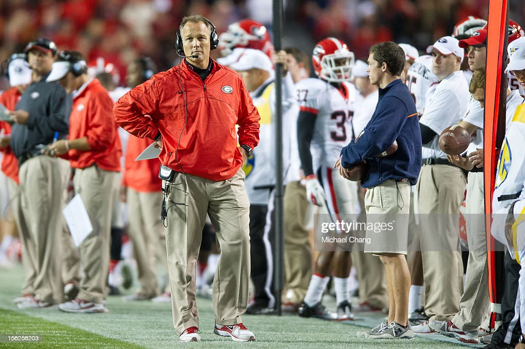 Coach Mark Richt of the Georgia Bulldogs watches his team play against the Georgia Bulldogs on November 10, 2012 at Jordan-Hare Stadium in Auburn, Alabama. Georgia defeated Auburn 38-0 and clinched the SEC East division.