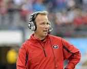 Coach Mark Richt of the University of Georgia directs play against the Michigan State Spartans at the 2009 Capital One Bowl at the Citrus Bowl on...