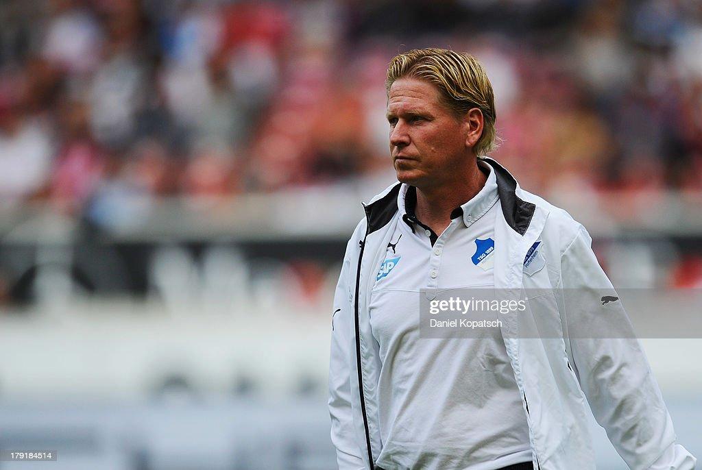 Coach Markus Gisdol of Hoffenheim looks on prior to the Bundesliga match between VfB Stuttgart and 1899 Hoffenheim at Mercedes-Benz Arena on September 1, 2013 in Stuttgart, Germany.
