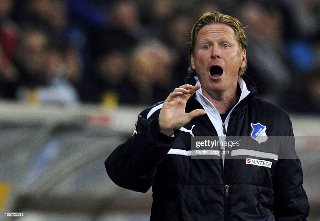 Coach Markus Gisdol of Hoffenheim reacts during the Bundesliga match between TSG 1899 Hoffenheim and Fortuna Duesseldorf 1895 at Rhein-Neckar-Arena on April 5, 2013 in Sinsheim, Germany.