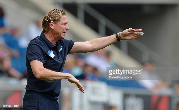 Coach Markus Gisdol of Hoffenheim reacts during the friendly match between 1899 Hoffenheim and AFC Bournemouth at Wirsol RheinNeckarArena on August 1...