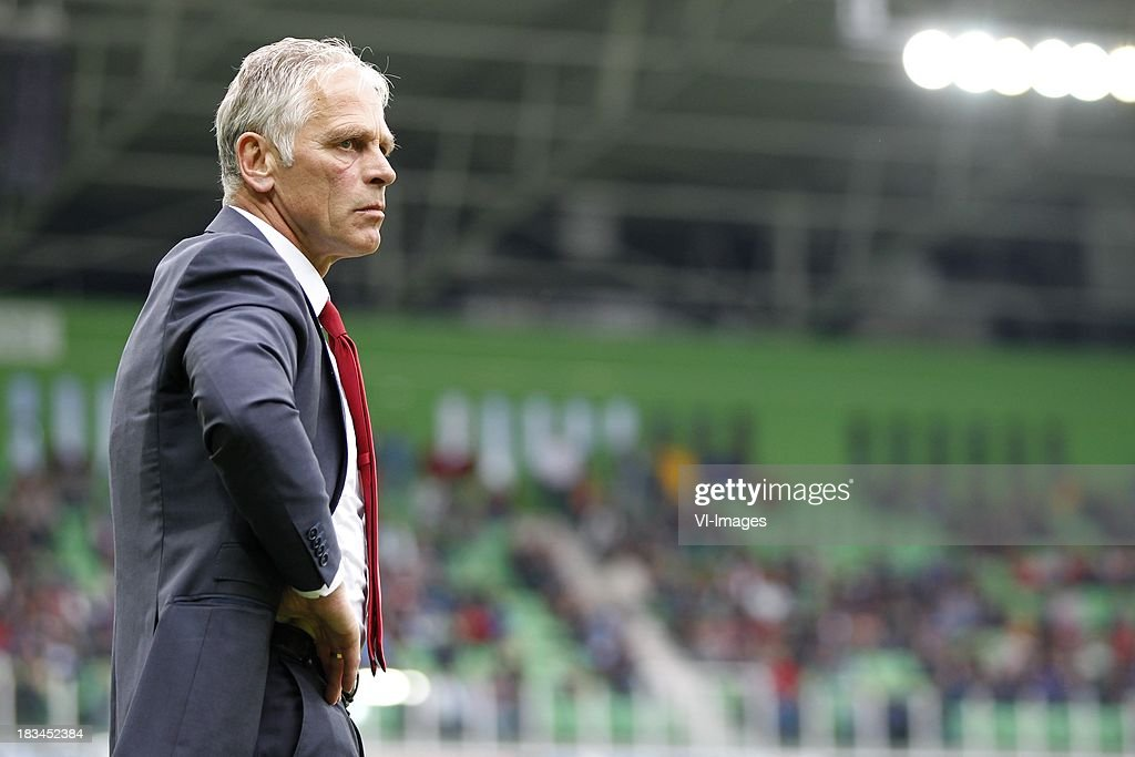 Coach Martin Haar of AZ during the Dutch Eredivisie match between FC Groningen and AZ Alkmaar at De Euroborg on Oktober 6, 2013 in Groningen, The Netherlands