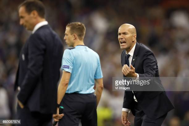coach Massimiliano Allegri of Juventus FC coach Zinedine Zidane of Real Madridduring the UEFA Champions League final match between Juventus FC and...