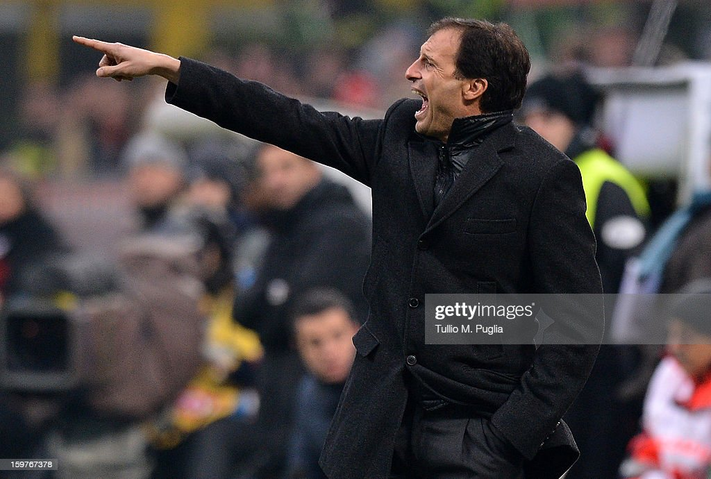 Coach <a gi-track='captionPersonalityLinkClicked' href=/galleries/search?phrase=Massimiliano+Allegri&family=editorial&specificpeople=3470667 ng-click='$event.stopPropagation()'>Massimiliano Allegri</a> of Milan issues instructions during the Serie A match between AC Milan and Bologna FC at San Siro Stadium on January 20, 2013 in Milan, Italy.