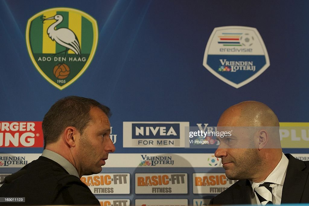Coach Maurice Steijn of ADO Den Haag, coach Peter Bosz of Heracles Almelo during the Dutch Eredivisie match between ADO Den Haag and Heracles Almelo at the Kyocera Stadium on march 03, 2013 in The Hague, The Netherlands
