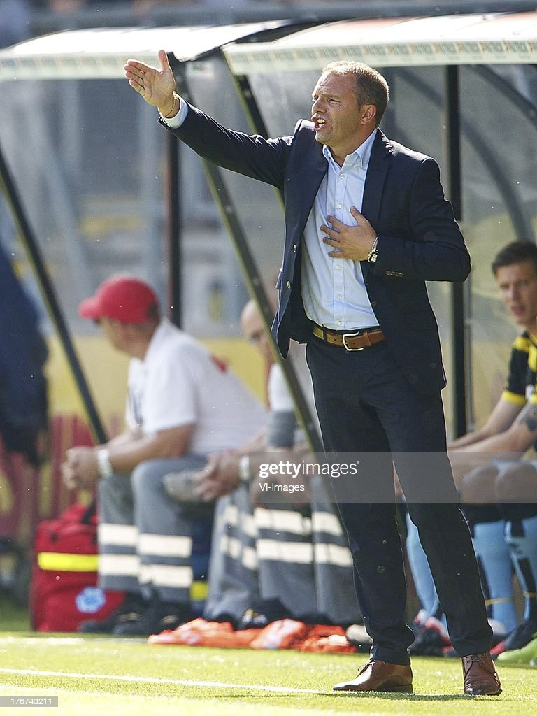 coach Maurice Steijn of ADO Den Haag during the Dutch Eredivisie match between NAC Breda and ADO Den Haag on August 18, 2013 at the Rat Verlegh stadium in Breda, The Netherlands.