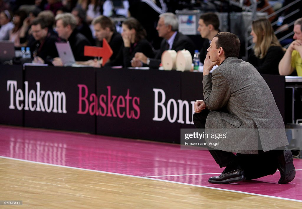 Coach Michael Koch of Baskets looks on during the Beko Basketball Bundesliga game between Telekom Baskets and Giants Duesseldorf at Telekom Dome on...