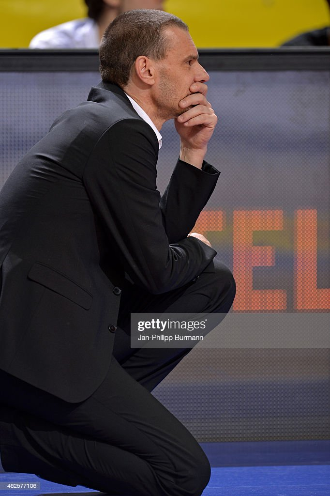 Coach Michael Koch of medi Bayreuth looks on during the game between Alba Berlin and medi Bayreuth on January 31 2015 in Berlin Germany