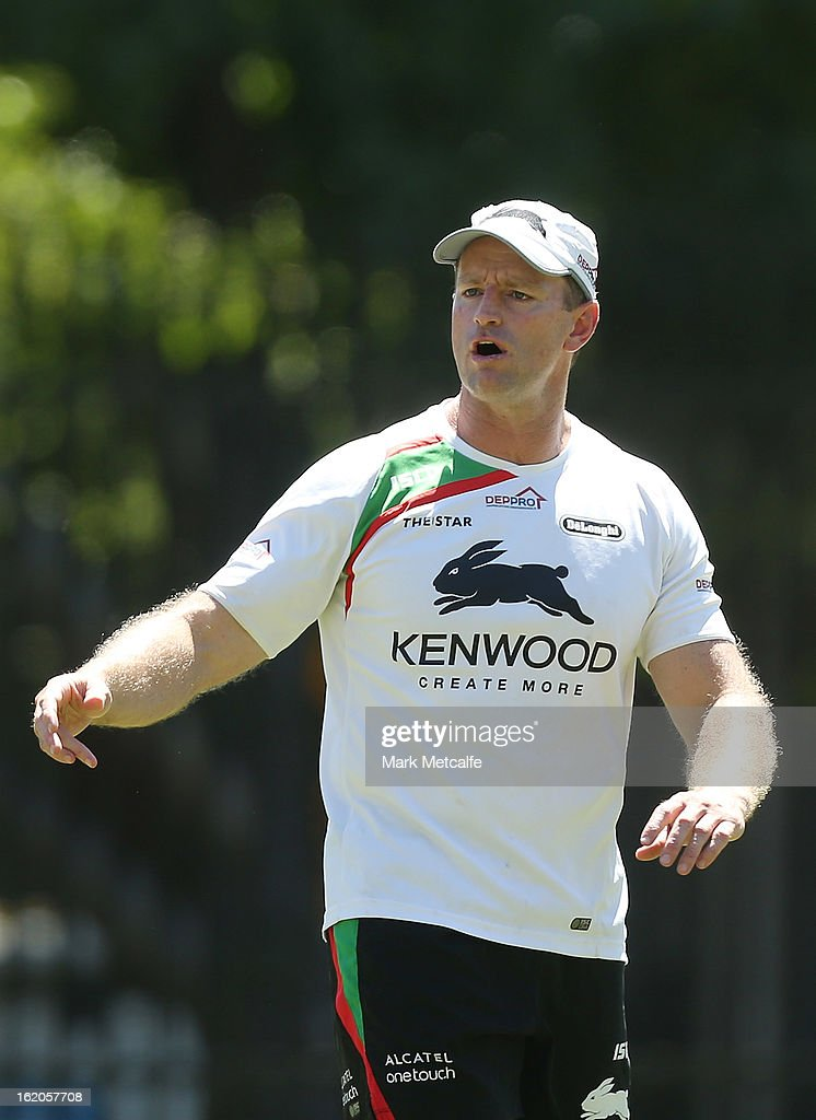 Coach Michael Maguire speaks to players during a South Sydney Rabbitohs NRL training session at the National Centre for Indigenous Excellence on February 19, 2013 in Sydney, Australia.